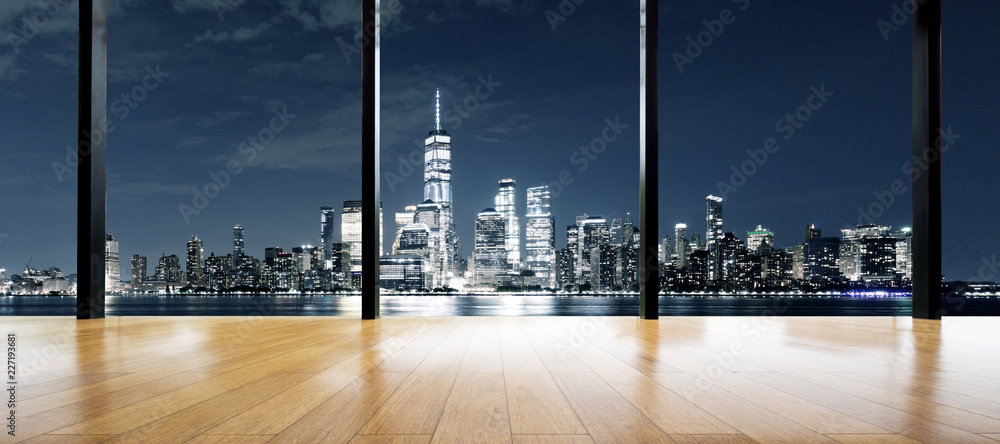 Fototapety, obrazy: empty wooden floor with cityscape out of window