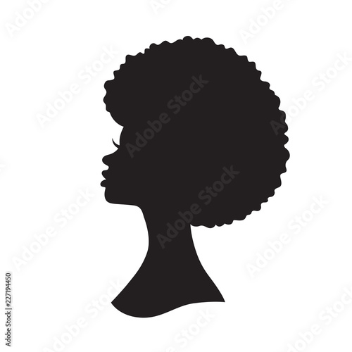 Photo Vector illustration of black woman with afro hair silhouette