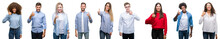 Composition Of African American, Hispanic And Caucasian Group Of People Over Isolated White Background Doing Happy Thumbs Up Gesture With Hand. Approving Expression Looking At The Camera