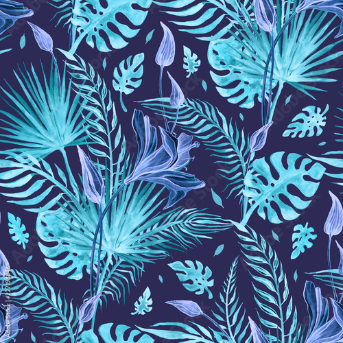 Tropical flowers Abstract Flower. Hand Drawn Floral Pattern. Seamless Watercolor illustration. Can be used for wallpaper, website background, textile, .