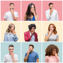 Collage Of Group Of Young People Woman And Men Over Colorful Isolated Background Bored Yawning Tired Covering Mouth With Hand. Restless And Sleepiness.