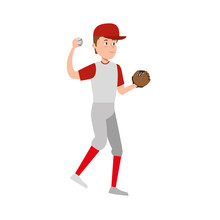 Young Man Practicing Baseball
