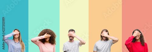 Fotografía  Collage of group of young people over colorful vintage isolated background smiling and laughing with hand on face covering eyes for surprise