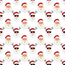 Santa's Faces Pattern Seamless Background.