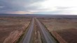 Drone view of road with traffic near Moab - Utah - USA