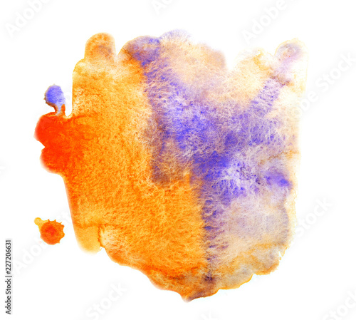 Bright Orange Paint Mixed With Purple Watercolor Abstract
