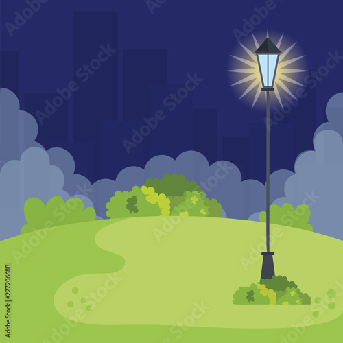 Photo  park landscape with lantern scene