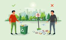 Correct And Wrong Behavior Of Littering Waste. Person Disposed Improperly Throwing Away Garbage On The Floor. Trash Is Fallen On The Ground. Littering Garbage. Littering Trash. Rubbish On The Ground.