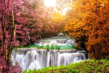 FototapetaWaterfall in deep rainforest beautiful in autumn,Huay Mae Kamin Waterfall in Thailand Kanchanaburi Province