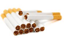 Closeup Of Cigarettes Isolated...