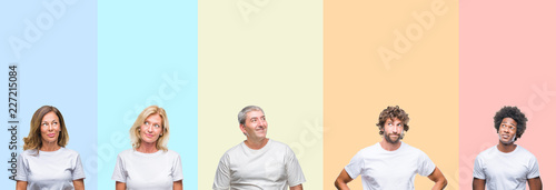 Fotografía  Collage of group of young and middle age people wearing white t-shirt over color isolated background smiling looking side and staring away thinking