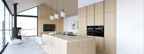 Fotografía new modern scandinavian loft apartment. 3d rendering