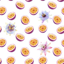 Watercolor Passion Fruit Vector Pattern