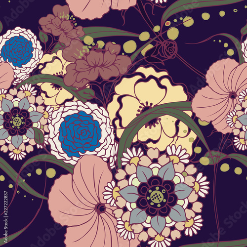 Foto op Canvas Bloemen Beautiful seamless floral pattern background.