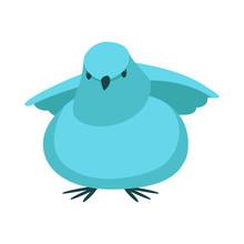 Blue Chick Cartoon Vector Illustration Flat