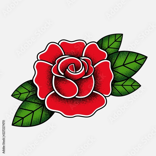 Rose in the style of the old school tattoo. The texture of the noise. Kars rose with green leaves isolated on white background. Vector illustration.