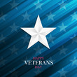 USA Happy Veterans Day greeting card with silver star on blue background. Vector illustration.