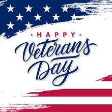USA Veterans Day Greeting Card With Brush Stroke Background In United States National Flag Colors And Hand Lettering Text Happy Veterans Day. Vector Illustration.
