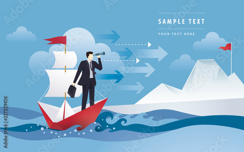 Stampa su Tela Businessman with binocular on white sailing boat  in the ocean, Mountain and the