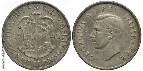 Fotografia  British South Africa silver coin 2 two shillings 1942, WWII issue, shield with w