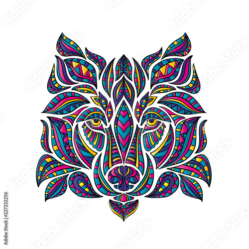 Obraz na plátne  Abstract hand-drawing with elements of ornaments wolf graphic pen, boho