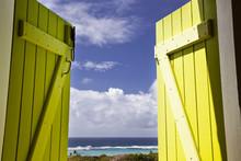 Guadeloupe Beach Seen Through Yellow Window