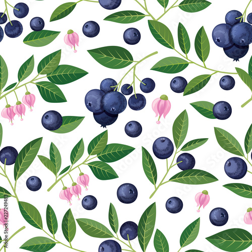 Leinwand Poster Seamless pattern with blueberries, sprigs, flowers. Vector