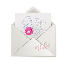 Beautiful Lipstick Kiss On Love Letter. Realistic Lips Stamp On Paper With Handwritten Text Vector Illustration. Happy Valentines Day Congratulation. Sensual Letter In Open Post Envelope With Stamp.