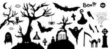 Set Of Silhouette Horror Image...