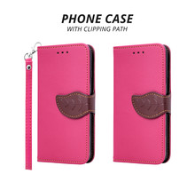 Leather Mobile Phone Cover Isolated On White Background. Pink Phone Case With Rope For Design. ( Clipping Path )