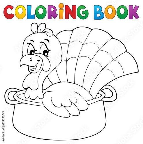 Coloring book turkey bird in pan theme 1