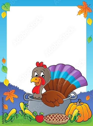 Turkey bird in pan theme frame 1