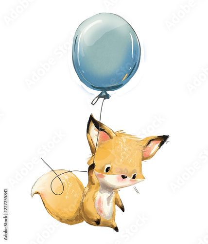 Little fox with balloon Canvas Print
