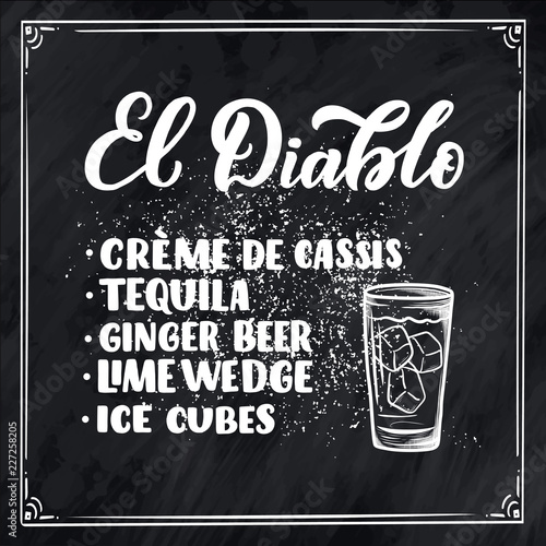 Photo  Lettering name of cocktail recipe