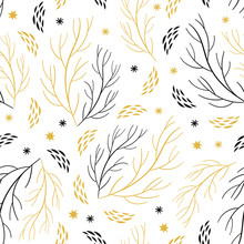 Beautiful Seamless Pattern With Branches And Snowflakes