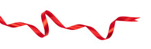Wavy Red Ribbon Isolated On Wh...