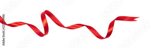 Wavy red ribbon isolated on white background. Canvas-taulu