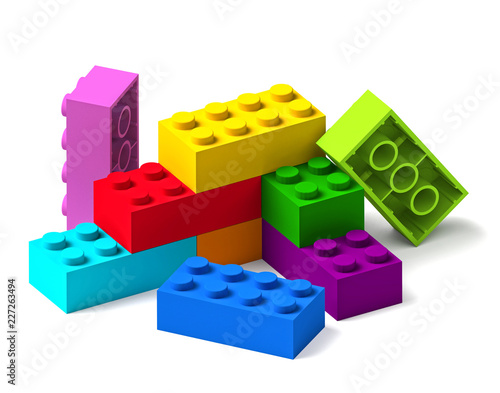 Rainbow colour building toy blocks 3D Wallpaper Mural