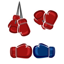 Boxing Labels And Icons Set. Vector