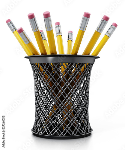 Fotografering Black pen holder full of pencils isolated on white background