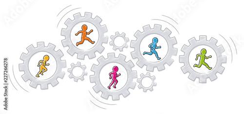 Współpraca / Praca zespołowa: Grupa kolorowych mężczyzn biegnie w obrotowych narzędziach / wektorze, izolowana