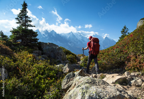 Obraz A man hiking on the famous Tour du Mont Blanc near Chamonix, France. - fototapety do salonu