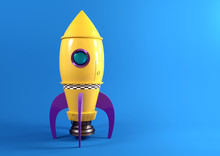 A Retro Yellow Toy Spaceship R...