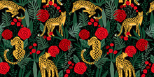 Vestor Seamless Pattern With Leopards, Tropical Leaves And Roses.