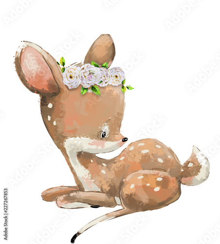 Photo Little Cute watercolor lovely deer with flower