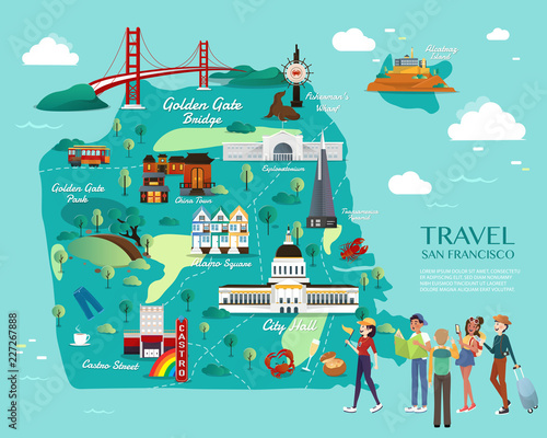 Fotomural Map Of San Francisco Attractions Vector And Illustration.