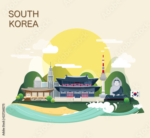 Photo  Tourist attraction landmarks in Korea illustration design