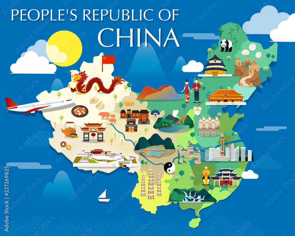 Map Of China Attractions Vector And Illustration. Foto ...