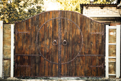 Old massive wooden gate