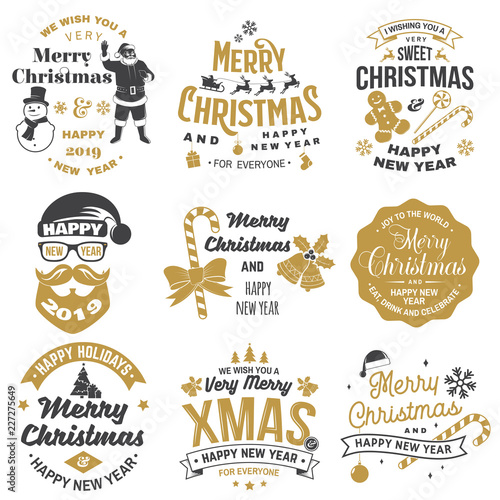 Fotografía  Set of Merry Christmas and Happy New Year stamp, sticker set with snowflakes, hanging christmas ball, santa hat, candy